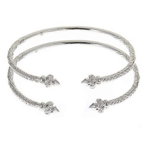 Thin Ridged Arrow .925 Sterling Silver West Indian Bangles (Pair 40g) - Betterjewelry