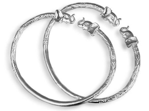 Elephant .925 Sterling Silver West Indian Bangles (Pair) - Betterjewelry