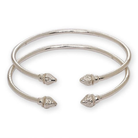 Elegant Pointed Ends .925 Sterling Silver West Indian Bangles (Pair 27g) - Betterjewelry