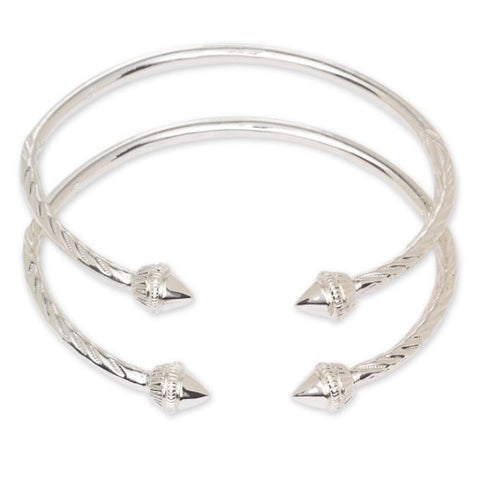 Elegant Pointed Ends .925 Sterling Silver West Indian Bangles (Pair 52.2g / Size 8) - Betterjewelry