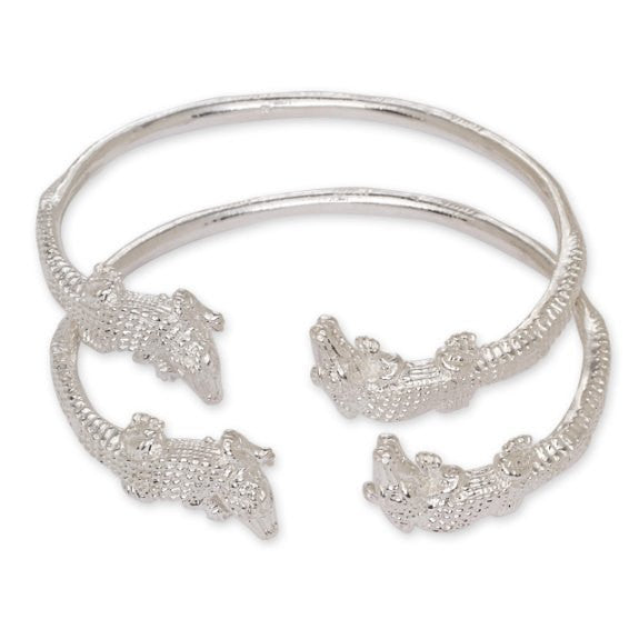 Alligator Ends .925 Sterling Silver West Indian Bangles (Pair 50.2g) - Betterjewelry