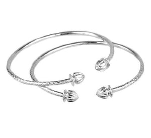 Acorn .925 Sterling Silver West Indian Bangles (Pair) - Betterjewelry
