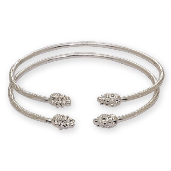 Grape Bunch Ends .925 Sterling Silver West Indian Bangles (Pair 27g) (Made in Usa) - Betterjewelry