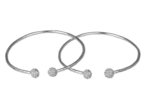 Textured Ball .925 Sterling Silver West Indian Bangles (Pair) (Made in USA)