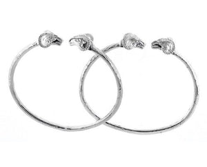 Ram .925 Sterling Silver West Indian Bangles (Pair) - Betterjewelry