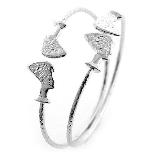 Queen Nefertiti .925 Sterling Silver West Indian Bangles (Pair)