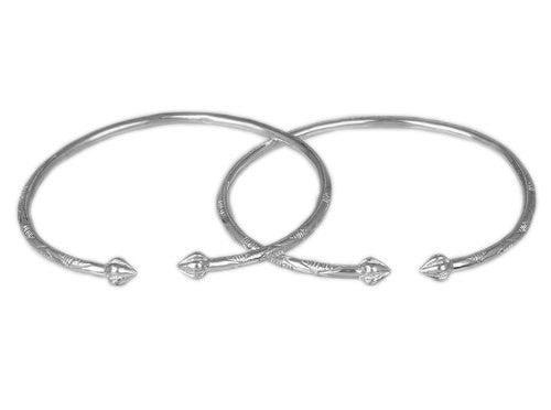 Pointy Bulb .925 Sterling Silver West Indian Bangles (Pair) 7.5 inches (Made in Usa)