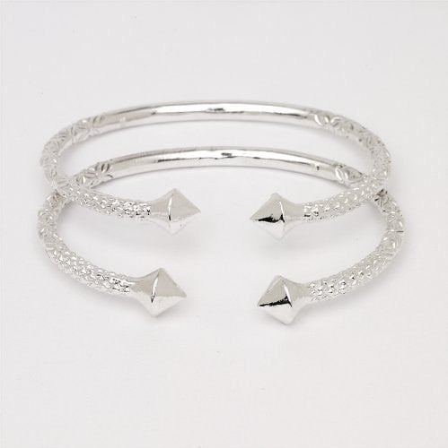 Thick Pyramid Ends .925 Sterling Silver West Indian Bangles (Pair 83.6 g / Size 9) (Made in Usa)