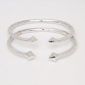 Thick Pyramid Ends .925 Sterling Silver West Indian Bangles (Pair 83.6 g / Size 9) (Made in Usa) - Betterjewelry