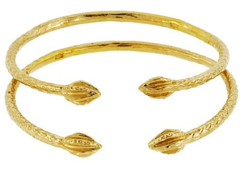 Baby Solid Sterling Silver West-Indian Bangle Set 14K Gold Plated