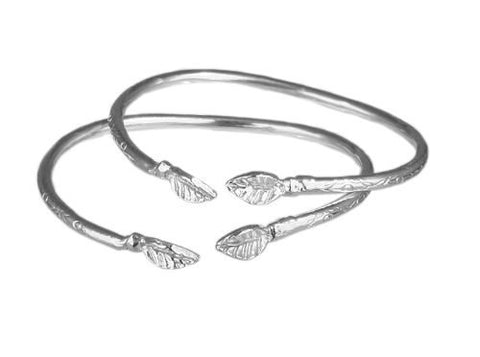 Leaf .925 Sterling Silver West Indian Baby Bangles (Pair)