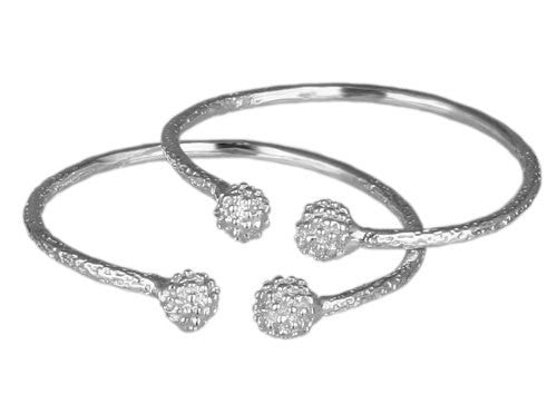 Textured Ball .925 Sterling Silver West Indian Baby Bangles (Pair) (Made in Usa) - Betterjewelry