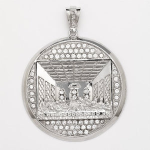 Sterling Silver Last Supper Religious Pendant w. CZ Stones (Made in Usa)
