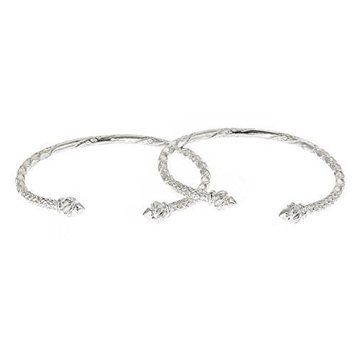 Torch Ends .925 Sterling Silver West Indian Bangles (PAIR) - Betterjewelry