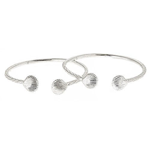Sea Shell .925 Sterling Silver West Indian Bangles (PAIR) - Betterjewelry