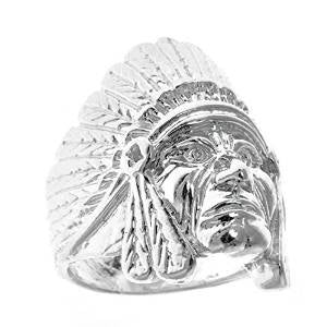 Men's .925 Sterling Silver Indian Chief Head, Chopper Biker Motorcycle (Made in USA)  Ring Sizes 7-12 - Betterjewelry