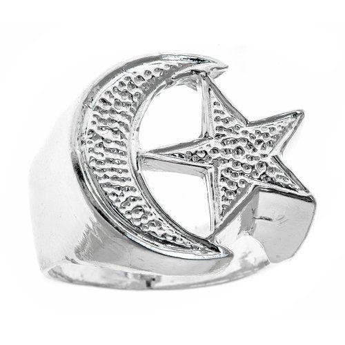Men's .925 Sterling Silver Muslim / Islamic Crescent Moon & Star Ring Sizes 7-12 - Betterjewelry