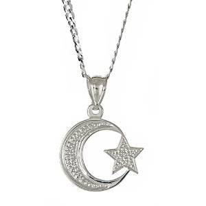 Sterling Silver .925  Muslim / Islam Crescent Moon + Star Pendant w. Cuban Chain