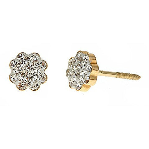 14K Yellow Gold Flower-shaped Studs Earrings w. White CZ Stones