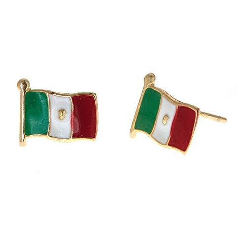 14K Yellow Gold Studs Earrings w. Mexico Flag - Betterjewelry