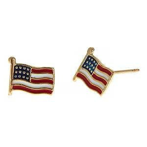 14K Yellow Gold Studs Earrings w. American Flag