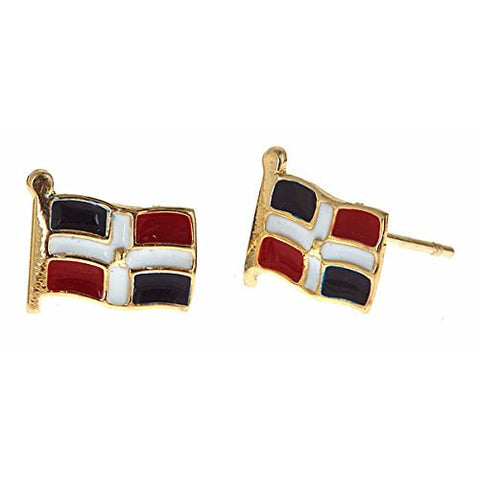 14K Yellow Gold Studs Earrings w. Dominican Republic Flag