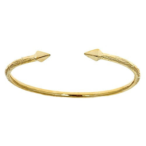 14K Yellow Gold West Indian Bangle w. Pyramid Ends (19.0 GRAMS)