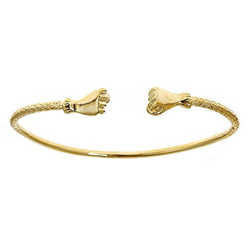 14K Yellow Gold West Indian Bangle w. Fist Ends (14 GRAMS)
