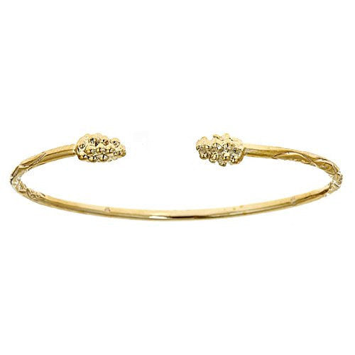 14K Yellow Gold West Indian Bangle w. Grape Cluster Ends (16 GRAMS) - Betterjewelry