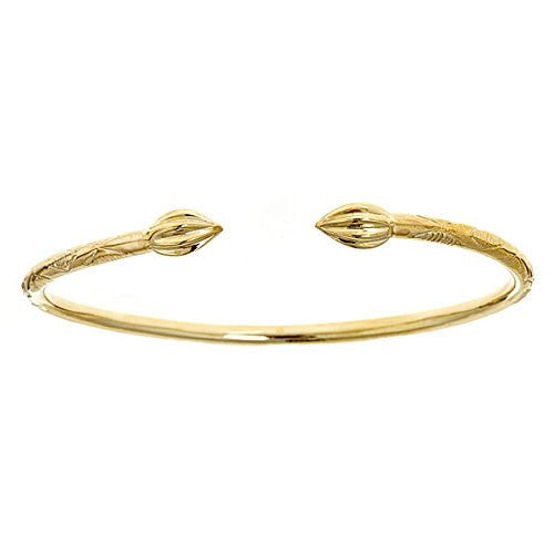 14K Yellow Gold West Indian Bangle w. Tulip Ends (30.0 GRAMS) (Made in USA) - Betterjewelry