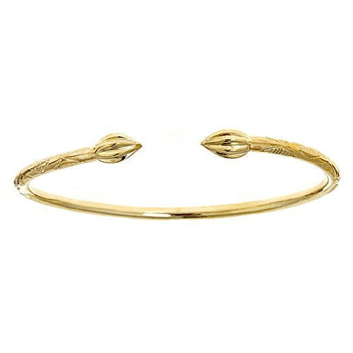 14K Yellow Gold West Indian Bangle w. Tulip Ends (30 GRAMS) (Made in USA) - Betterjewelry