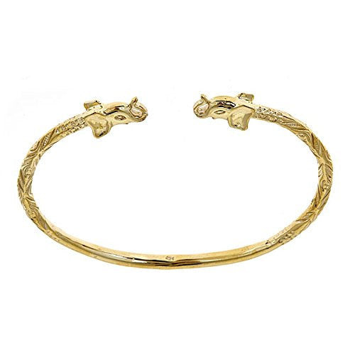 14K Yellow Gold West Indian Bangle w. Elephant Ends (25 GRAMS) - Betterjewelry