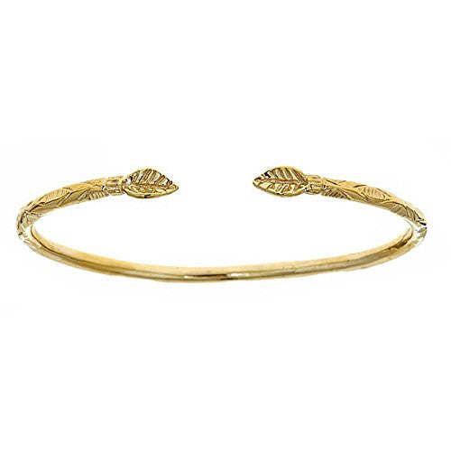 14K Yellow Gold West Indian Bangle w. Leaf Ends (19 GRAMS) - Betterjewelry