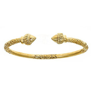 14K Yellow Gold West Indian Bangle w. Torch Ends (43 GRAMS) - Betterjewelry