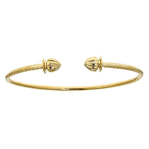 14K Yellow Gold West Indian Bangle w. Acorn Ends (19 GRAMS) - Betterjewelry