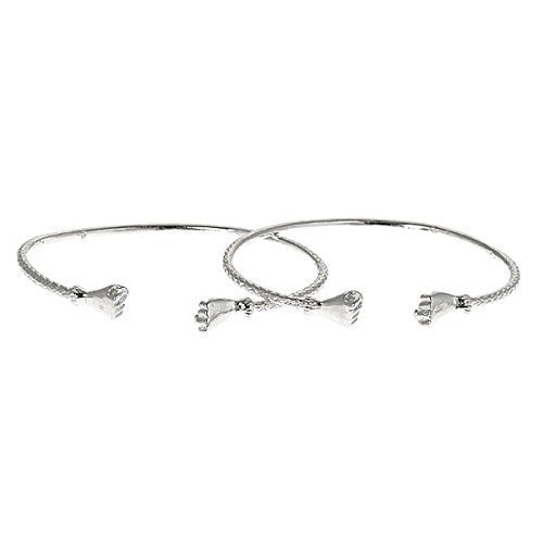 Fist .925 Sterling Silver West Indian Bangles (Pair) (24 GRAMS) (Made in USA) - Betterjewelry