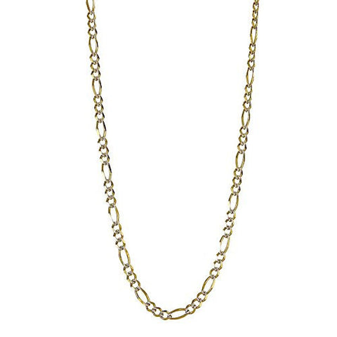 10K Yellow Gold Italian Figaro Chain w. Rhodium Pave Accents (6.8 GRAMS)