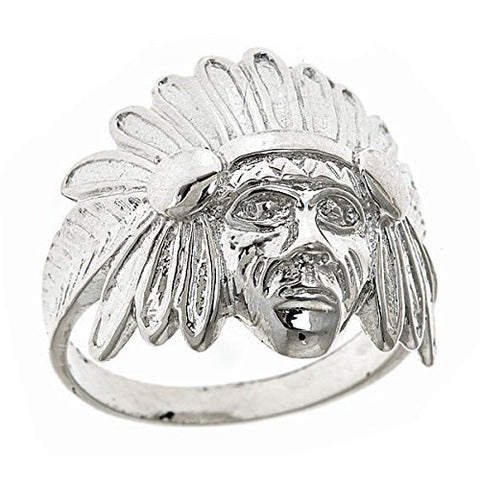Men's .925 Sterling Silver Indian Chief Head, Chopper Biker Motorcycle Ring Sizes 7-12 - Betterjewelry