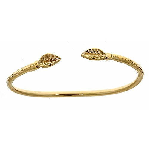 14K Yellow Gold BABY West Indian Bangle w. Leaf Ends (10.5 grams) - Betterjewelry
