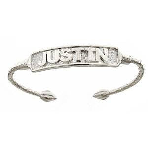 NAME PLATE Baby Bangle .925 Sterling Silver (11.2 grams) - Betterjewelry