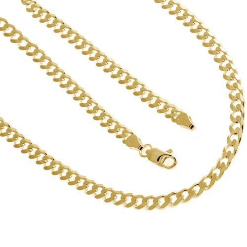 Solid Sterling Silver .925  Cuban Chain 18 Inches 5.4 mm 14K Gold Plated 22.3 Grams - Betterjewelry