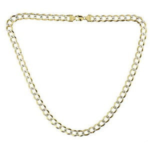 Men's Gold Plated .925 Sterling Silver Diamond Cut Cut Cuban Chain (113.5 grams) - Betterjewelry