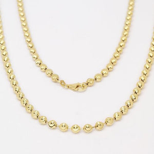 Men's Gold Plated .925 Sterling Silver Diamond Cut Moon Ball Bead Chain (43.0 grams) - Betterjewelry