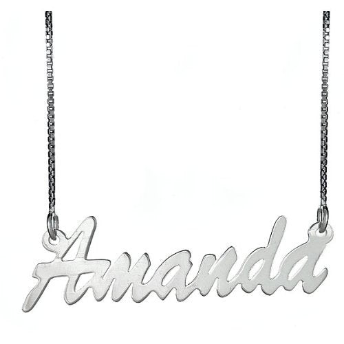 Slender Script .925 Sterling Silver Name Plate Necklace - Betterjewelry