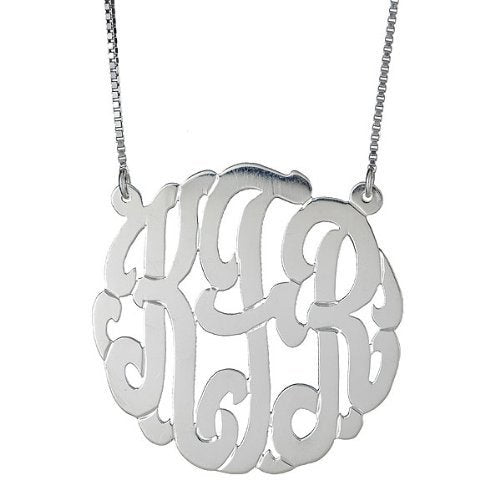 LARGE .925 Sterling Silver Custom Three Letter Monogram Pendant Necklace (1.5