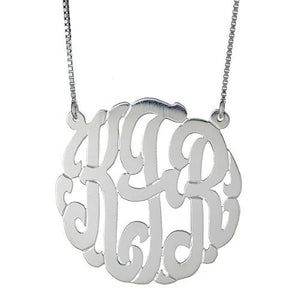 "LARGE .925 Sterling Silver Custom Three Letter Monogram Pendant Necklace (1.5"") - Betterjewelry"