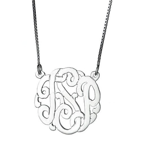 Small .925 Sterling Silver Custom Three Letter Monogram Pendant Necklace (.9