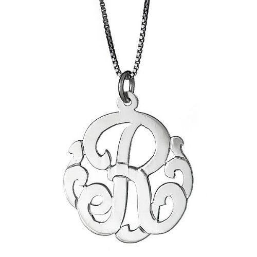 Small .925 Sterling Silver Custom One Letter Monogram Pendant Necklace - Betterjewelry