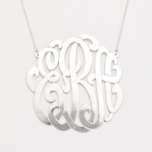 925 Sterling Silver Custom Three Letter Initial Monogram Pendant (Made in USA) - Betterjewelry