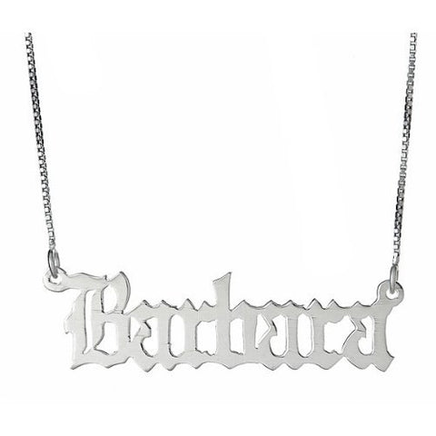 Gothic Script .925 Sterling Silver Name Plate Necklace - Betterjewelry